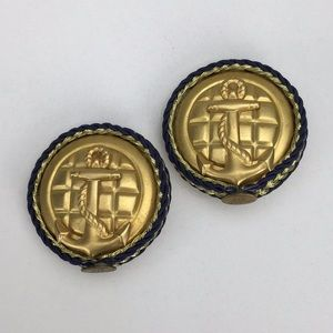 Jewelry - Large 80s Designer Clip Earrings Nautical Anchors